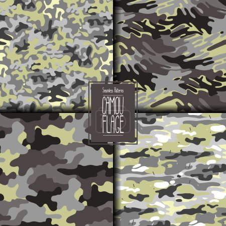 Illustration for Abstract camouflage seamless pattern set. Trendy fabric design in gray and green colors. - Royalty Free Image
