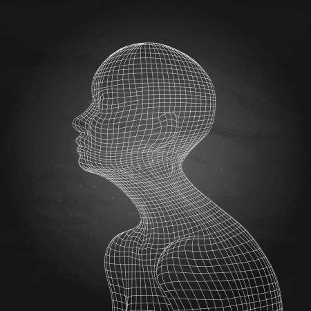 Illustration pour Corps humain vecteur isolé sur le tableau. Vue latérale. Concept d'intelligence artificielle. Cybertechnologies modernes - image libre de droit