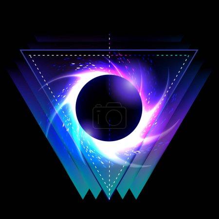 Illustration pour Trou noir avec vortex étoilé en forme de triangle. Géométrie sacrée. Illustration d'astornomie abstraite. Tatouage ou t-shirt art - image libre de droit