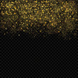 Gold sparkles confetti. Gold glitter abstract background. Luxury golden festive confetti pieces on the transperant background