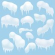 Snow elements, Snow caps, snowballs and snowdrifts for design and decoration. Christmas snow top