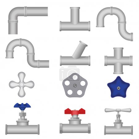 Construction plumbing pieces set of pipes, fittings, valve, gate. Plumbing, water pipes, sewerage.