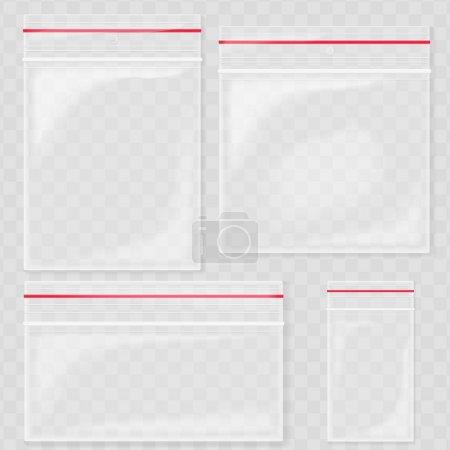 Empty Transparent Plastic Pocket Bags. Blank vacuum zipper bag. polythene container set on the transperant background.