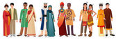 People in national traditional dress clothes International couples Native america japan china muslim arabian india africa people together set