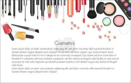 Beauty cosmetics Makeup with cosmetic tools. Colorful cosmetics background, brushes and other essentials.