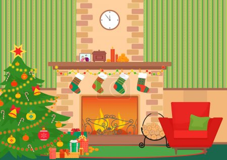 Christmas livingroom flat interior vector illustration. Christmas New Year tree and fireplace with socks. Christmas wall pattern.