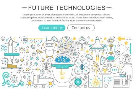 Vector modern line flat design Future technology concept. Future technology icons Website Header, app design poster banner.