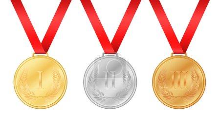 Three olympic games medals. Gold medal. Silver medal. Bronze medal. Laurel leaf on medal. Championship award.