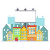 Big blank urban billboard over small city town street buildings Cartoon Billboard advertisement commercial blank