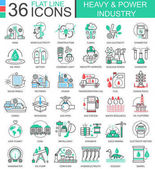 Vector Heavy and power industry flat line outline icons for apps and web design Heavy power industry high technology icons
