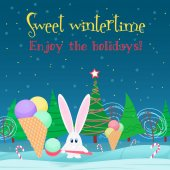 Christmas card background. Rabbit with ice cream candy in the christmas tree night forest.