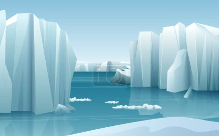 Cartoon realistic nature winter arctic ice landscape with iceberg and snow mountains hills.