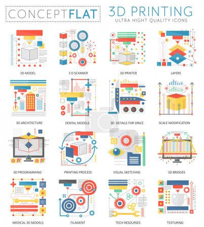Infographics mini concept 3d printing technology icons for web. Premium quality color conceptual flat design web graphics icons elements. 3d printing concepts.