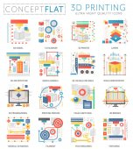 Infographics mini concept 3d printing technology icons for web Premium quality color conceptual flat design web graphics icons elements 3d printing concepts