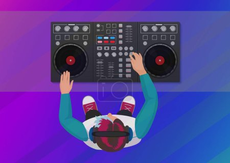 DJ playing vinyl on the neon color light background. Top view. DJ Interface workspace mixer console turntables. Night club concept. DJ young man.