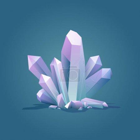 Illustration for Quartz geometric crystal. Luxury color ice Crystal vector illustration. Healing stone. Gem stone vector illustration - Royalty Free Image