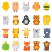 Animal icons collection Flat animals set Vector illustration