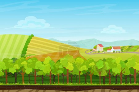 Seamless cartoon landscape with forest wood, mountains and hills with farm village houses. Landscape for game.