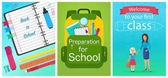 Welcome back to school concept template School equipment notebook backpack and woman teacher with girl pupil kid Vector collection of cartoon flat education design concepts