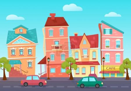 Illustration for Vector cartoon cute street of a colorful city with shops - Royalty Free Image