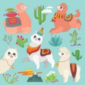 Set of vector cute vector alpaca lama and desert cactus elements