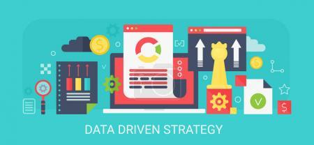 Flat modern vector concept Data Driven Strategy banner with icons and text.