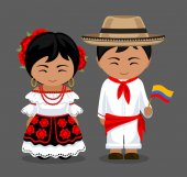 People with a flag A man and a woman in traditional costume Travel to Colombia Vector flat illustration