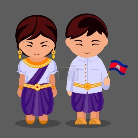 Cambodians in national dress