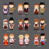 European people in national dress