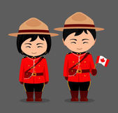 Canadians in national dress with a flag Royal Canadian Mounted Police