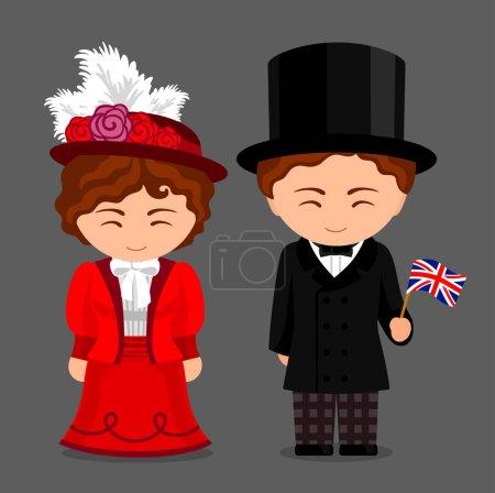 Illustration pour Des gens avec un drapeau. Femme et homme en costume traditionnel. Voyage en Angleterre. Illustration vectorielle plate . - image libre de droit