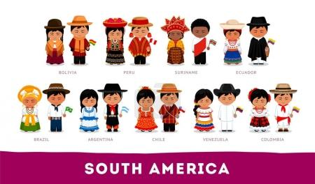 Americans in national clothes. South America.