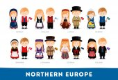 Europeans in national clothes Northern Europe