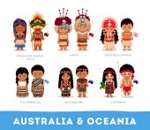People in national clothes Australia and Oceania