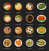Big set of asian food