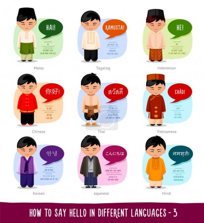 Hello in foreign languages: Indonesian, Filipino, ...