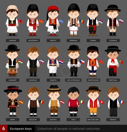 Illustration pour Ensemble d'hommes européens vêtus de vêtements nationaux. Collection de personnes en costume traditionnel. Illustration vectorielle plate . - image libre de droit
