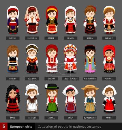 Illustration pour Ensemble de femmes européennes vêtues de vêtements nationaux. Collection de personnes en costume traditionnel. Illustration vectorielle plate . - image libre de droit