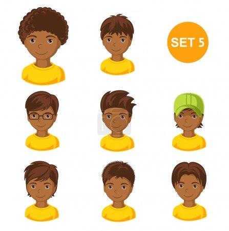Cute little african boys with various hair style.