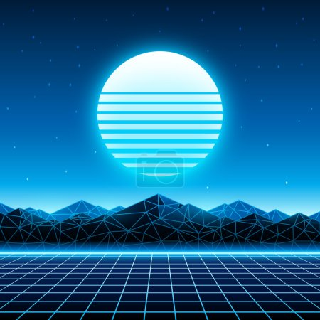 Illustration for Retro futuristic background 1980s style. Digital landscape in a cyber world. Retrowave music album cover template with sun, space, mountains and laser grid on terrain. - Royalty Free Image