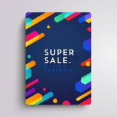 Vector printed cover template with abstract colorful shapes