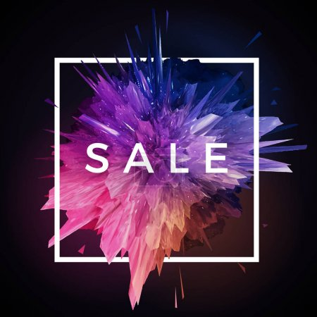 Sale label with glitch explosion in frame