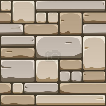 Photo pour Texture sans couture de la paroi rocheuse cube. Modèle répété de chaussée pavée. Fond sans fin de la vieille surface de brique - image libre de droit