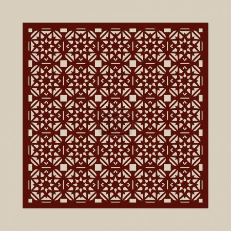 Illustration pour Ornement géométrique. Le modèle pour panneau décoratif. Une image adaptée pour la découpe du papier, l'impression, la découpe laser ou la gravure sur bois, métal. Fabrication de pochettes. Vecteur - image libre de droit