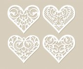 Set stencil lacy hearts with carved openwork pattern