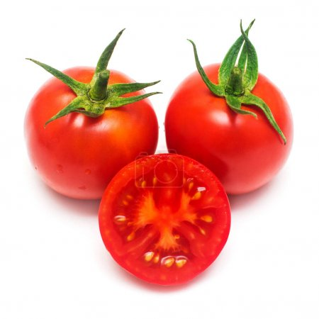 Red tomatoes whole and pieces isolated on white background. Vege