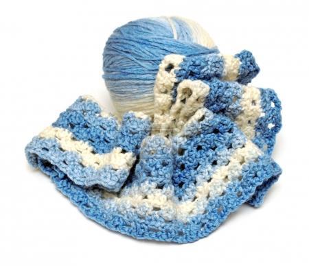 Wool knitting ball crochet isolated on white background. Handmad