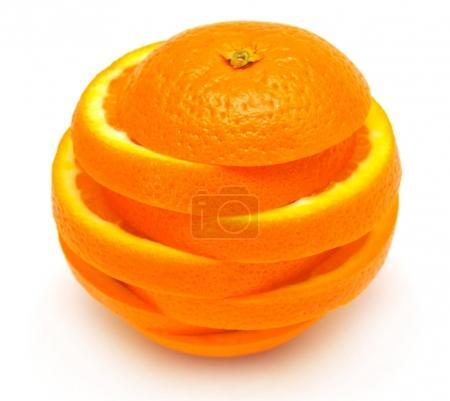 One orange fruit cut rings isolated on white background. A healt
