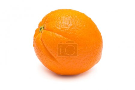 One ripe orange fruit isolated on white background