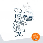 Vintage Chef With Large Hamburger